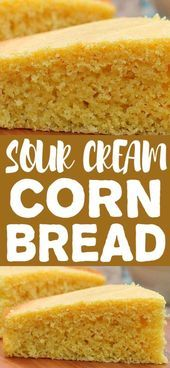 Sour Cream Corn Bread is moist soft and delicious. An excellent corn bread that would be a great addition to breakfast lunch or dinner. - Breads - Ideas of Breads Cream Corn Bread, Sour Cream Cornbread, Fried Cornbread, Cornbread Recipes, Sweet Bread Meat, Sour Cream Noodle Bake, Corn Dishes, Side Dishes, Creamed Corn