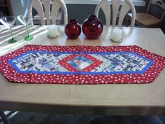 Red blues and green Christmas Table by KaTerryTheSewSisters, $20.00
