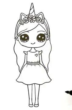 Kawaii Girl Drawings, Bff Drawings, Cute Animal Drawings Kawaii, Cute Little Drawings, Cute Cartoon Drawings, Cartoon Kunst, Cute Easy Drawings, Cute Girl Drawing, Drawings Of Friends