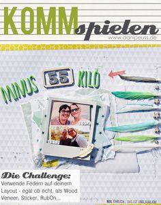 #KommSpielen Scrapbooking Challenge von Steffi Wienberg für www.danipeuss.de |Verwende Federn auf deinem Layout