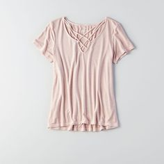 AE Soft & Sexy Cage Front T-Shirt ($25) ❤ liked on Polyvore featuring tops, t-shirts, brown, brown t shirt, sexy tops, jersey t shirt, jersey top and american eagle outfitters t shirts
