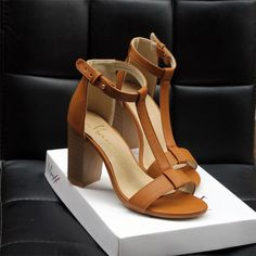 Soft PU Leather T-Strap High Heels Women Sandals //Price: $32.87 & FREE Shipping //     #style