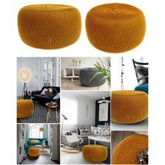 Komfortná pletená taburetka horčicovej farby