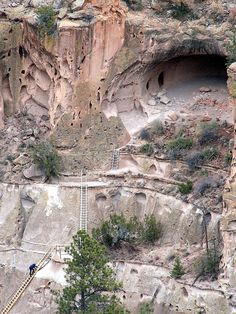 Bandelier National Monument just north of Santa Fe, NM. I've climbed those ladders. Makes me tired to look at them. Travel New Mexico, New Mexico Usa, Santa Fe, Places To Travel, Places To See, Land Of Enchantment, Vacation Spots, Travel Usa, Beautiful Places