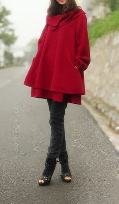 Sarah Lee likes. In another color.   dark red women's Princess style cape Coat jacket by colorstore2011