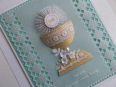 Prace pergaminowe 2015 - Zamajka Rzesz - Picasa Web Albums First Communion Cards, Première Communion, First Holy Communion, Parchment Design, Parchment Craft, Fancy Fold Cards, Folded Cards, Confirmation Cards, Quilling Craft