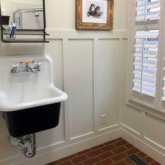 New Silver Gilded Mercury Glass Inspired Deep Utility Sink High Back Cast Iron Porcelain Farm Sink Package (Kit) Bathroom Renos, Bathroom Wall, Garage Bathroom, Bathroom Wainscotting, Craftsman Bathroom, Bathroom Plans, Bathroom Renovations, Bathroom Ideas, Porcelain Farm Sink