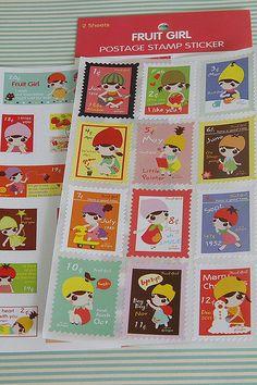 Kawaii Postage Stamp Stickers: Fruit Girl. $2,50, via Etsy.