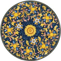 Italian Volcanic Stone Tables from Villa & Garden Painted Ceramic Plates, Ceramic Painting, Fabric Painting, Art Floral, Mandala Design, Mandala Art, Italian Pattern, Baroque Decor, China Painting