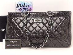 k5908 Auth CHANEL Black Patent Caviar Leather 2.55 Chain Shoulder Shopper Bag