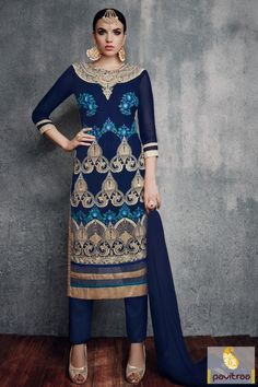 Lead a new generation fashion era by wearing a new blue color nazneen pakistani lawn salwar kameez for wedding. Shop online fancy party wear salwar suit with low range price. #salwarsuit, #embroiderysalwarsuit more: http://www.pavitraa.in/store/embroidery-salwar-suit/