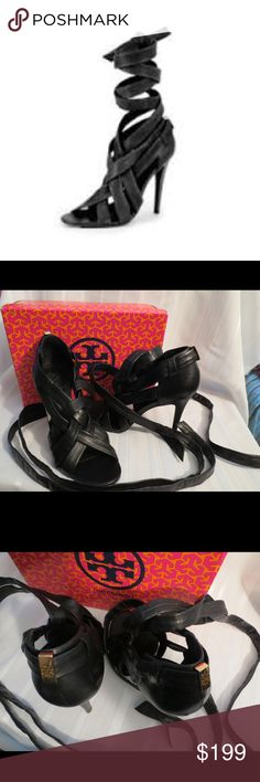 """SEXY Tory Burch Wrapped Ankle HOT Stilettos Sandal SEXY Tory Burch Wrapped Ankle HOT Stilettos  Gently worn, superb condition! There are called Wrap up heel, Lounge baby, black leather and just beyond sexy!! The only thing flaw is the box, has some boo boos on it. I would rather include the box and tell you about it then throw it away!!  All of my items are Guaranteed 100% Genuine I do not sell FAKES of any kind    Heels: 4.25""""  Size 9.5  No Trades (S082) Tory Burch Shoes"""