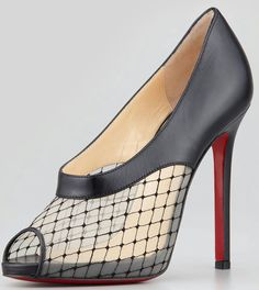 lace, peep-toe, & a red sole. Resillana Lace-Net Peep-Toe Red-Sole Bootie, Black by Christian Louboutin at Neiman Marcus. Heeled Boots, Shoe Boots, Ankle Boots, Christian Louboutin Women, Red Louboutin, Red Sole, Shoe Art, Dream Shoes, Me Too Shoes