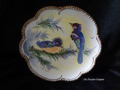 Antique porcelain tapestry plate bluejay bluebird & chick artist signed