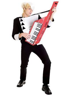New Wave Singer Costume ShirtWigKeytarYou know you're an music star when you're jamming away on your bright red keytar! The men's new wave singer 80s Costume, Costume Shop, Cool Costumes, Adult Costumes, Halloween Costumes, 80s Fashion Men, Singer Costumes, Wave Rock, Black And White Coat