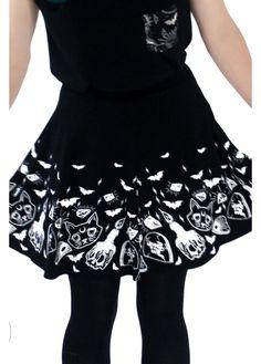 Fearless Illustration Salem Skater Skirt | Attitude Clothing