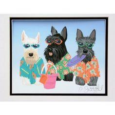 """Beach Boyz"" Scottish Terriers at the Beach Print  Scottie dog"