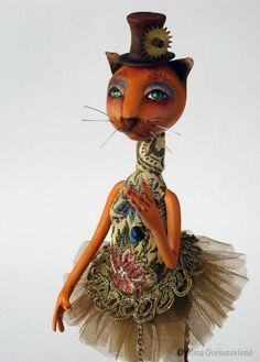 OOAK art doll animal Pussycat Mirta by VilmaDollsHouse