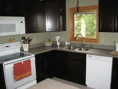 Small L SHAPED KITCHEN like yours with dark cabinets and white appliances.