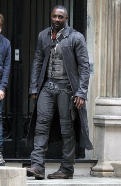 "Idris Elba on set of ""The Dark Tower"" in NYC."