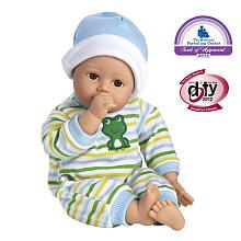 Adora Playtime Babies 13 inch Baby Boy Doll - Light Brown Skintone Brown Eyes Blue Green White Romper with Matching Hat