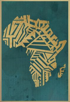 """This Africa motif- another of artist Michael """"Dos"""" Tousana's work Africa Map, Out Of Africa, South Africa, Africa Tattoos, Afrique Art, Poster Art, Map Art, Black Art, Travel Posters"""
