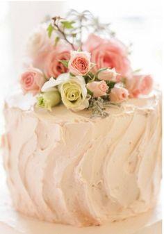Romantic wedding cake topped with roses ~ Feminine & Girly Charm ✿⊱╮