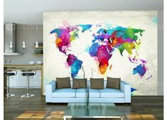 Barevná mapa světa #interierdecor #travel #homedesign