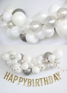 5th Birthday Girls, First Birthday Balloons, Boys 1st Birthday Party Ideas, 25th Birthday Parties, First Birthday Decorations, Baby Birthday, Baby Boy Balloons, Silver Party Decorations, Birthday Design