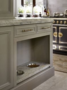 A designated space for pet food and water in the kitchen. Find your dream home at http://www.dongardner.com/