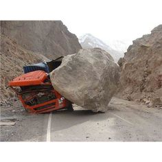 OUCH !! #crushed #truck #boulder www.crcint.com