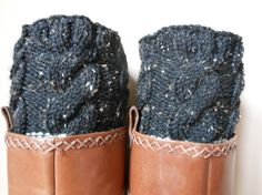 Hand Knitted Boot Cuffs Leg Warmers 2in1 Cream and Black Tweed