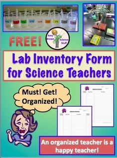 Free Science Lab Inventory Form.  An organized teacher is a happy teacher!  If you are required to turn in a lab inventory each year, this simple form will help you get organized and stay organized.