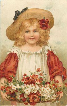 Ellen Jessie Andrews (1857-1907) — Flower Maidens 'Girl with Poppies & Daisies', 1907   (1034x1644)