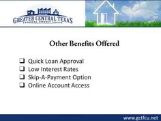 Greater Central Texas Federal Credit Union is a Killeen, TX based credit union offering low-interest home loans to its members. The staff at the credit union offers complete assistance in understanding loan terms and filling the application form. For more information about the home loan plans offered in Killeen, visit : http://www.gctfcu.net