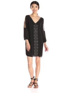 Greylin Women's Vira Open Sleeve Beaded Shift Dress