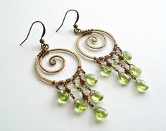 Peridot Chandelier Earrings Koru Earrings by BellaAnelaJewelry, $49.00