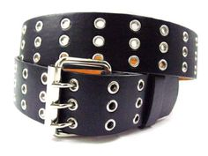 NEW Triple Row 3 Holes PU Leather Grommet Belt Black $6.99