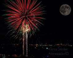 """My first ever halfway """"successful"""" #photoshop done on my iPhone with #picsart app. Both photos were takenast year with my #canon . I thought it would be cool to see #fireworks with a #fullmoon . #thumbsup if I do say so myself!! #InstaSize #oldphotoredone #canon #picsart  #different #iphone5s #photography #thisiswhereboredomtakesme :)"""
