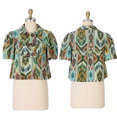 Taikonhu blazer Debonaire Blazer by Taikonhu. Ikat jacket with slightly boxy shape and voluminous short sleeves. Double button closure. Cotton & cotton lining. Size 8. Anthropologie Jackets & Coats