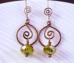 Copper Wire Swirl Earrings with Vitrial Green by JayelleJewelry