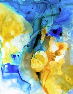 Yellow and Blue abstract art PRINT by Sharon Cummings. Rich colors in this unique art piece. Luxurious PRINT for any decor! Orange Wall Art, Yellow Art, Blue Art, Yellow Theme, Beach Scene Painting, Blue Painting, Beach Paintings, Canvas Paintings, Abstract Paintings