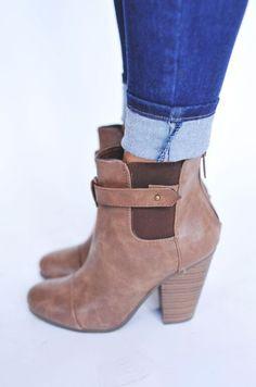 Leatherette Bootie- Tan - Dottie Couture Boutique