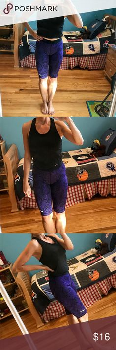 Nike Pro dry fit workout snakeskin shorts MED Nike Pro dry fit purple/black snakeskin workout shorts.  These Nike Pros fit great and are extremely comfortable.  Size medium.  In fantastic condition, no defects.   Some tags cut/itchy. Nike Shorts Bermudas