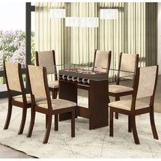 Conjunto para Sala de Jantar Cassiê K Mesa e 6 Cadeiras Choco/Capuccino - Viero em até 10x sem juros ou com 15% de desconto é na Panorama Móveis! #saladejantar #viero #móveis