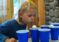Ping pong balls and cups of water, or without water using small dixie cups.