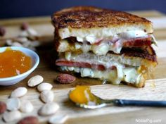 Melty Ham. Brie. Blue Cheese. and Peach Grilled Cheese