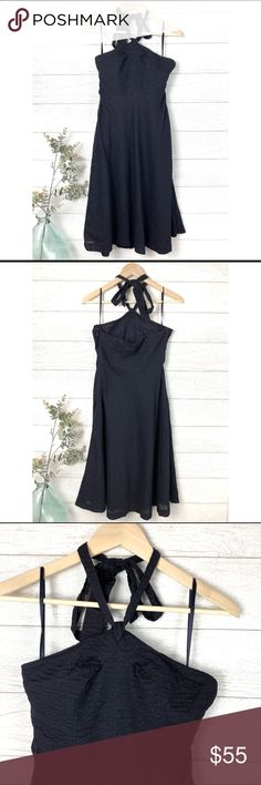 J. CREW Navy Blue Halter Top Cotton Dress Beautiful navy blue 100% cotton J. Crew dress! Cute halter top. In excellent condition. Size 4. (B-16. B) J. Crew Dresses