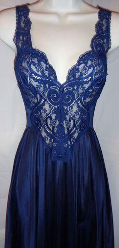 "Vintage Olga Size Medium Navy Blue Large Sweep Nightgown Nightie, Olga Negligee, See Through Lace Top, Bottom Sweep 120"" +, Pinup, Elegant"