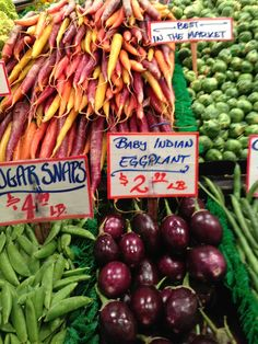 This is what I want - signs and all but of course all veggies will be cut like crudite, ready to eat. What Can I Eat, Pike Place Market, Washington State, Beverage, Seattle, Display, Canning, Signs, Vegetables